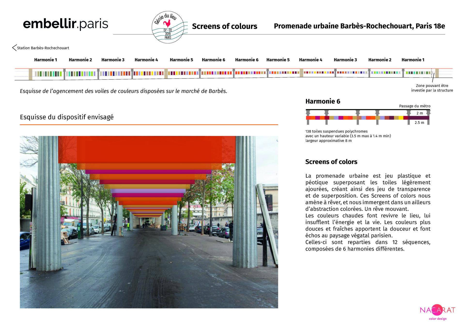 Second projet lauréat Embellir Paris - Génie du lieu, screens of colours - Nacarat Color Design