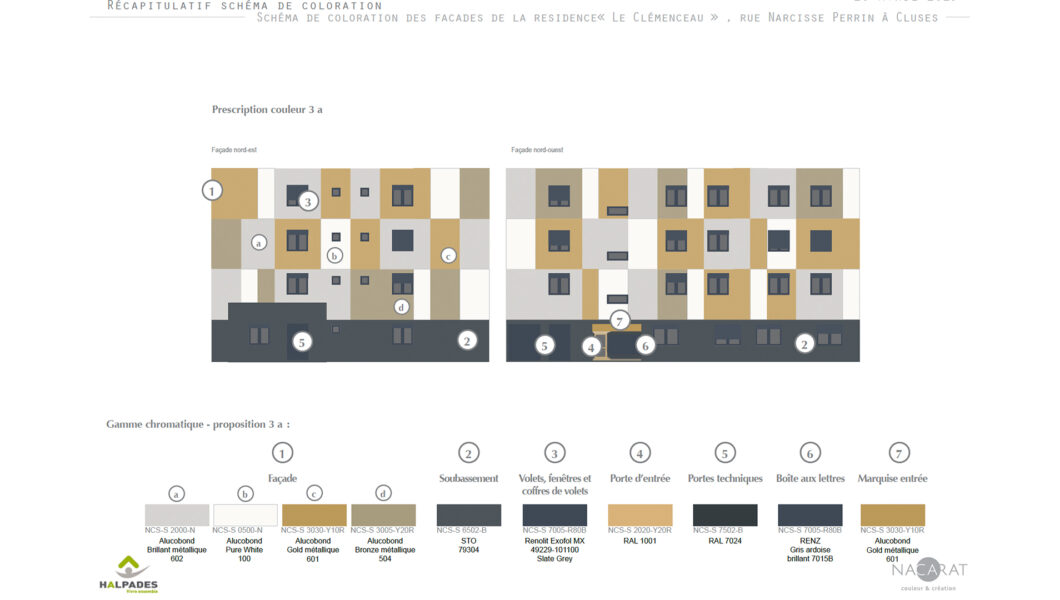 Nacarat-Etude-Couleur-materiau-facade-parties-communes-FJT-Clemenceau- CLUSES-Halpades