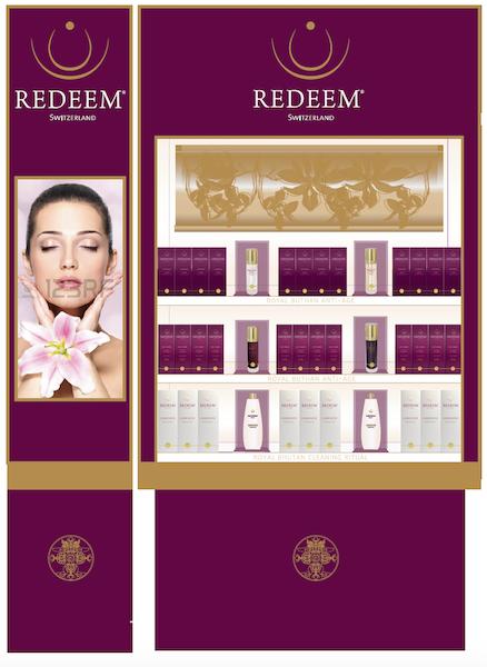 design de ses stands Redeem pour les duty free par nacarat Color design